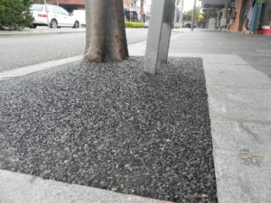 The Entrance tree pits Charcoal rubber glass